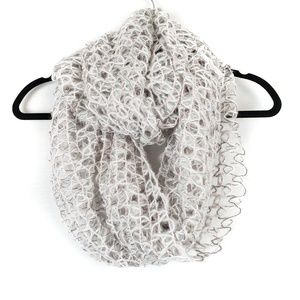 Cejon | Grey Metallic Loose Knit Circle Scarf OS